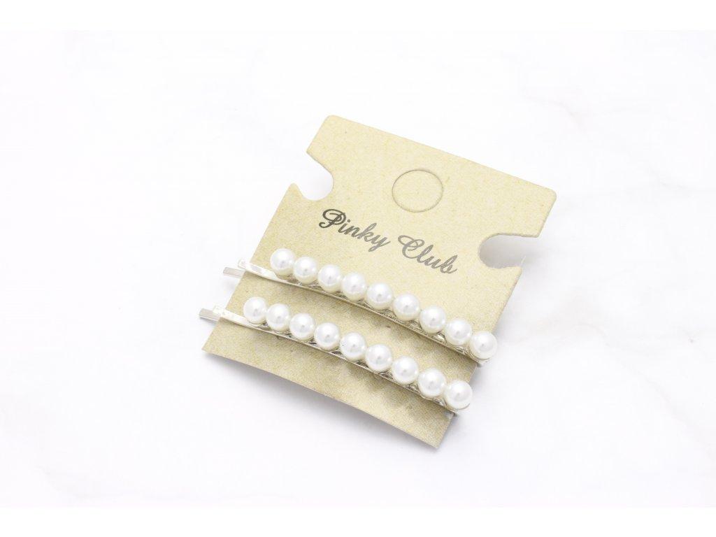 Set dvoch sponiek v striebornej farbe s perličkami
