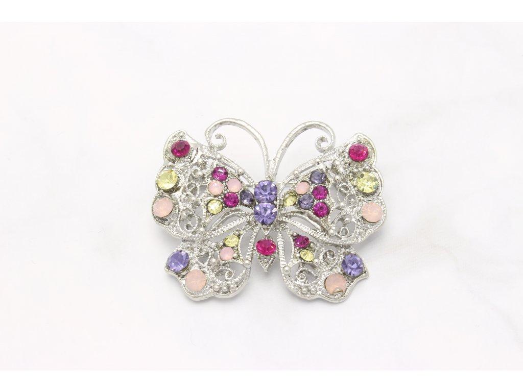 Brošňa motýľ s farebnými kamienkami