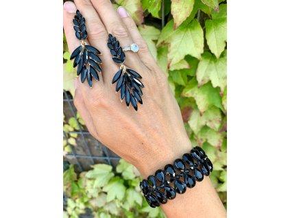 Kamienkové náušnice-čierne