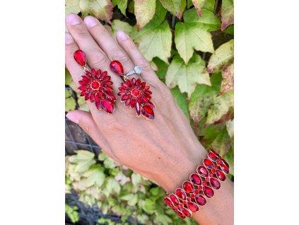 Kamienkové náušnice Romantic Red
