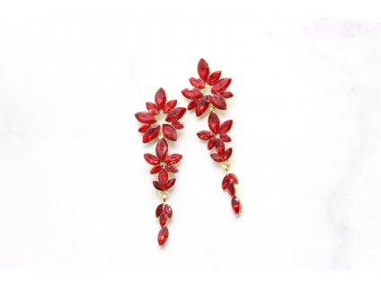 Kamienkové náušnice Flower red