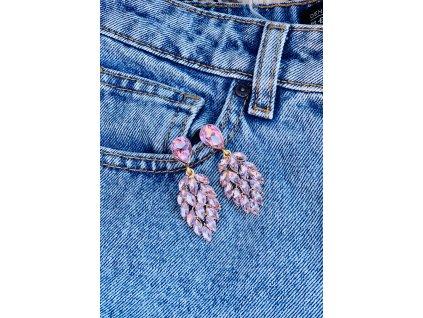Kamienkové náušnice Leaf pink