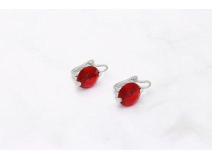 Exkluzívne náušnice - červený okrúhly kameň