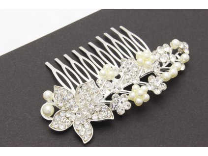Hrebienok jemný vzor kamienky s perlami