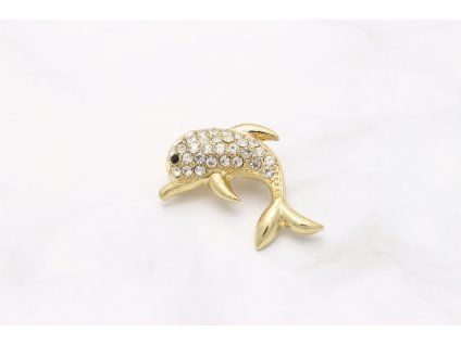 Brošňa zlatý delfín