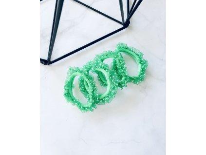 Sada gumičiek s bodkovaným tylom-zelená
