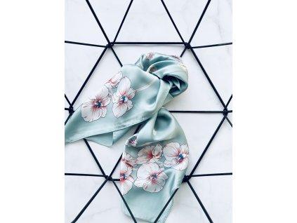 Tyrkysová šatka s kvetmi