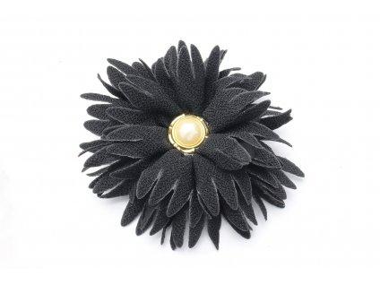 Kvet do vlasov čierny s perlou