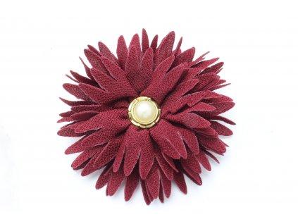 Kvet do vlasov bordový s perlou