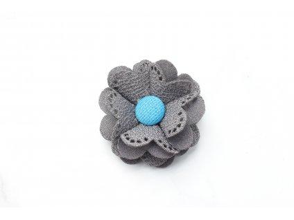Sivý kvet do vlasov s tyrkysovým stredom
