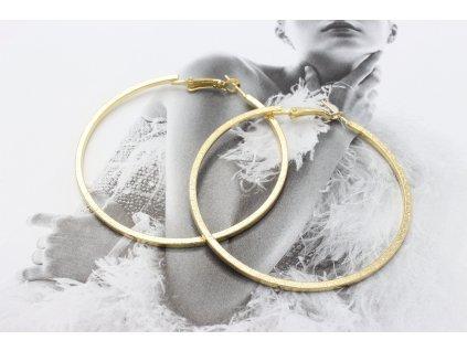 Zlaté náušnice kruhy so štruktúrou 5,5 cm-antialergické