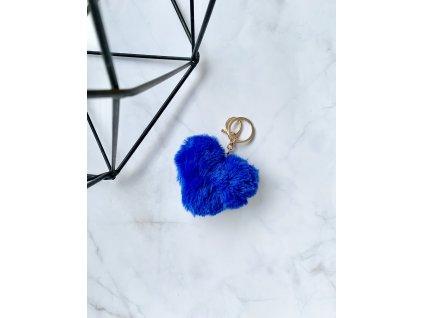 Prívesok kožušinové srdce modré