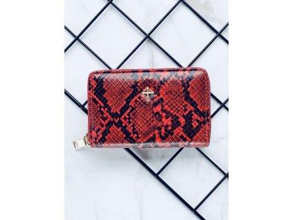 Červeno čierna peňaženka hadí vzor