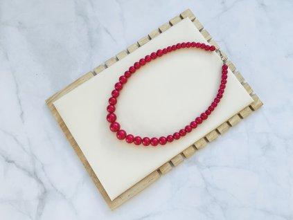 Perlový náhrdelník cyklámenový