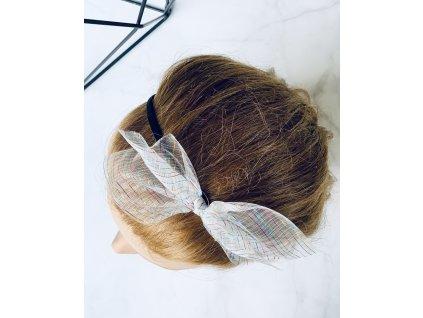 Čelenka do vlasov s bielo farebnou mašľou