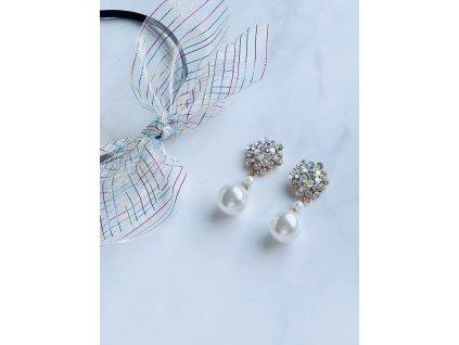 Kamienkové náušnice s farebným odleskom a bielou perlou