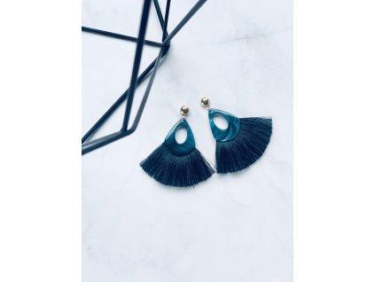 Smaragdové strapcové náušnice Nataly