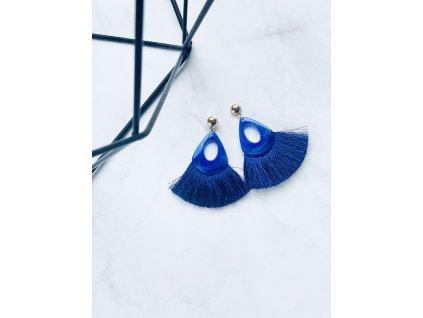 Modré strapcové náušnice Nataly