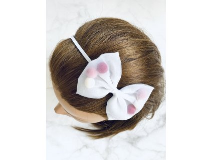 Biela čelenka do vlasov s mašľou a farebnými guličkami