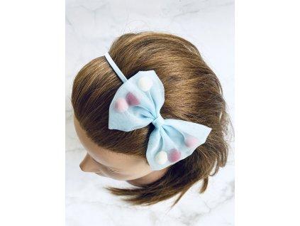 Svetlomodrá čelenka do vlasov s mašľou a farebnými guličkami