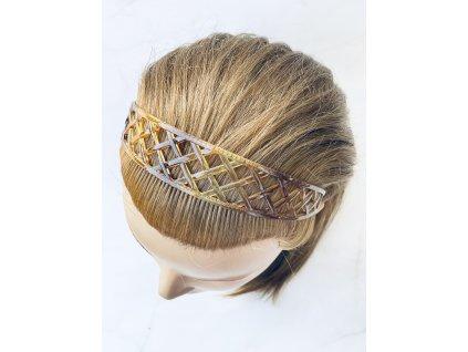 Hnedá čelenka do vlasov / hrubá vzorovaná