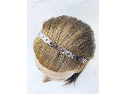 Čelenka do vlasov / priesvitná s hnedou retiazkový vzor