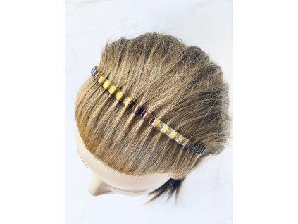 Čelenka do vlasov hnedá lesklá vlnky