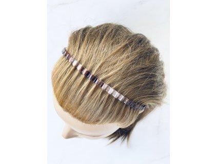 Čelenka do vlasov / priesvitná s hnedou vlnky