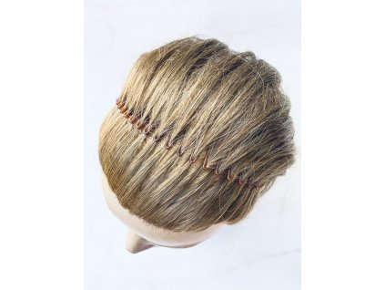 Hnedá hrebeňová čelenka do vlasov