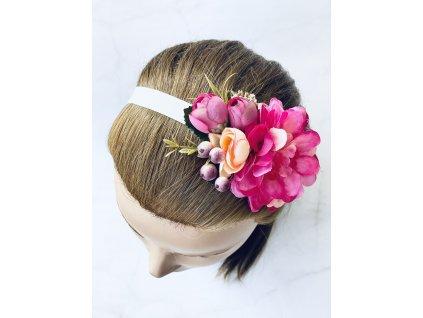 Elastická čelenka s cyklámenovými kvetmi