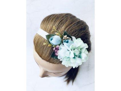 Elastická čelenka s mätovo-modrými kvetmi