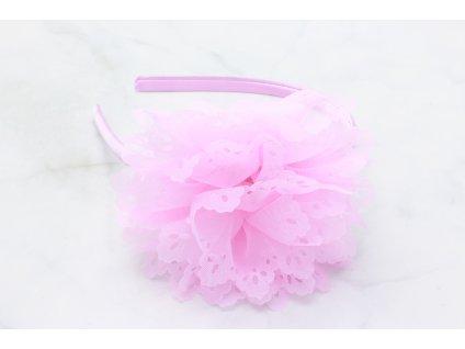 Ružová čelenka do vlasov s výrazným ružovým kvetom