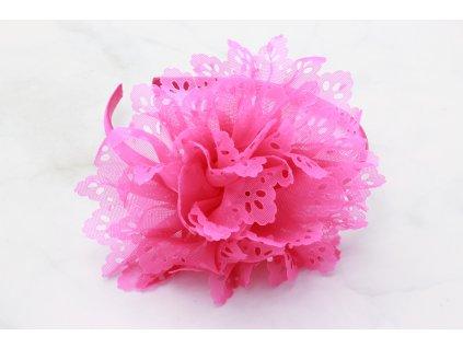 Cyklámenová čelenka do vlasov s výrazným cyklámenovým kvetom