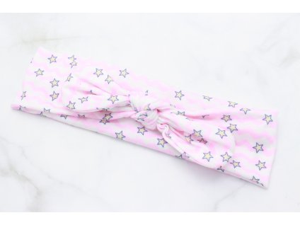 Detská látková čelenka bielo ružová s hviezdičkami