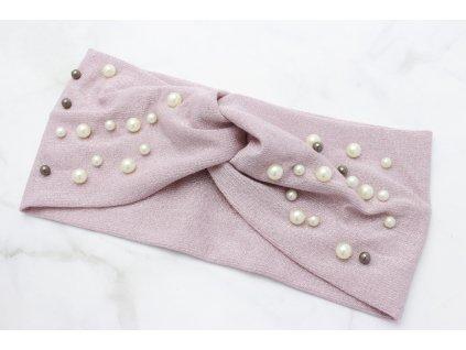 Látková čelenka ružovo strieborná s perlami