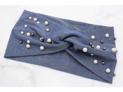 Látková čelenka modro zlatá s perlami