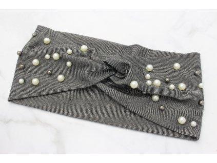 Látková čelenka sivo strieborná s perlami
