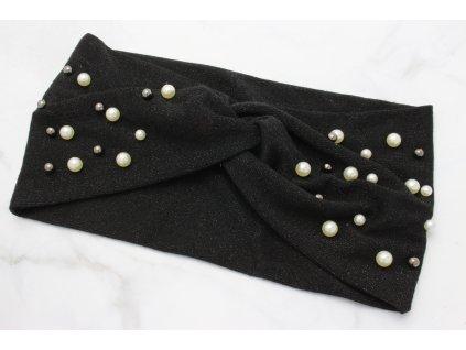 Látková čelenka čierna trblietavá s perlami