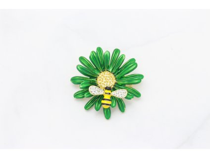 Brošňa zelený kvet s včielkou
