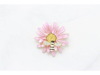 Brošňa ružový kvet s včielkou