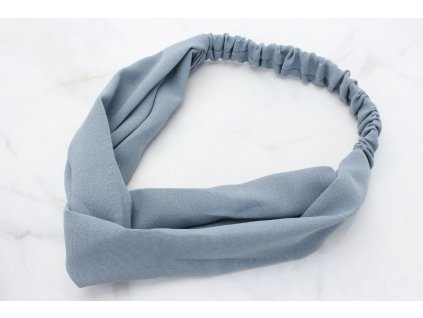 Modrá látková čelenka s prekladom