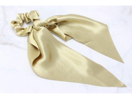 Zlatá scrunchie s výraznou mašľou