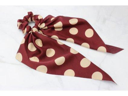 Scrunchie s výraznou mašľou bordová s béžovými guličkami