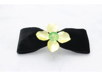 Semišová mašľa Green Flower
