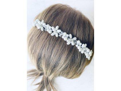Biela vlasová ozdoba do vlasov White pearl flower