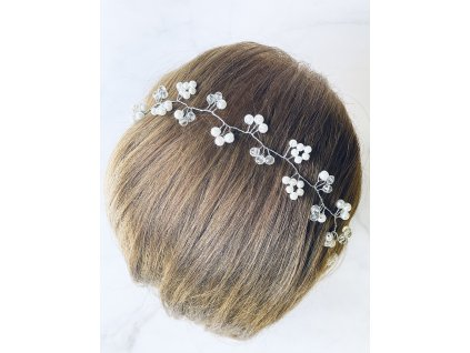 Biela vlasová ozdoba do vlasov Khloe