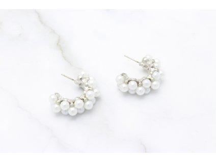 Trendy perlové polkruhy Joy Silver