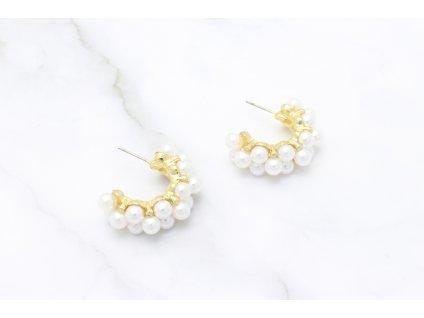 Trendy perlové polkruhy Joy Gold