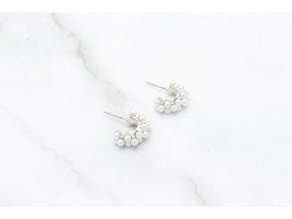 Trendy perlové polkruhy Mini Silver