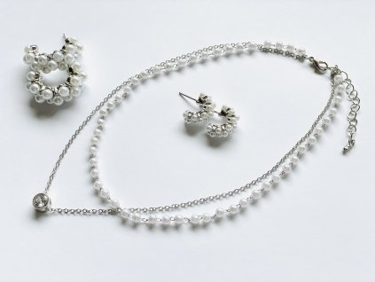 Trendy retiazka s príveskom a perlovou retiazkou
